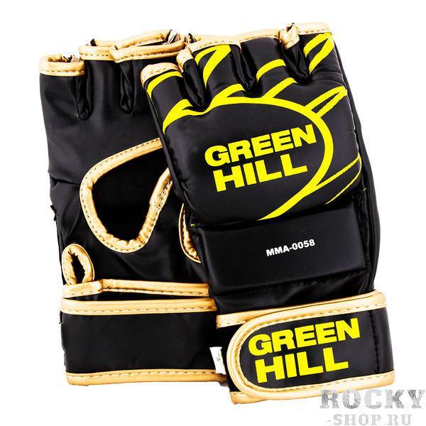 Перчатки ММА Green Hill MMA-0058 Green HillПерчатки MMA<br>Перчатки для боев без правил и грэплинга Green Hill выполнены из искусственной кожи. Размеры: Замерьте обхват ладони сантиметровой лентой в наиболее широком месте, исключив при этом большой палец рукиРазмер: S M L XLОбхват ладони, см. 17-18 18-19 19-22 23-27<br><br>Размер: XL
