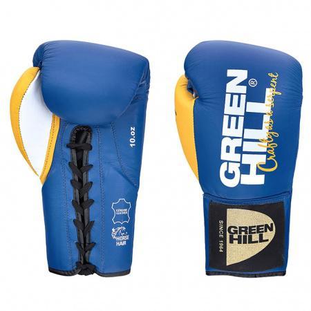 Профессиональные боксерские перчатки Green Hill Taipan, 10 OZ Green HillБоксерские перчатки<br>Перчатки для профессиональных поединков. Выполнены из натуральной кожи. Набивка - конский волос<br><br>Цвет: бело-желтые