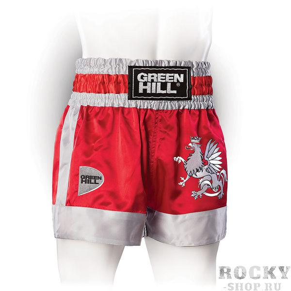 Шорты для тайского бокса/кикбоксинга Eagle, Красные Green HillШорты для тайского бокса/кикбоксинга<br>Трусы для кикбоксинга и тайского бокса GREEN HILL EAGLE выполнены из специального легкого атласного полиэстера. Трусы удобно сидят на теле, отводят влагу, сохраняя комфорт спортсмена, и быстро высыхают. На передней стороне расположена вышивка логотипа GREEN HILL и орла, которому данная модель обязана названием. <br>- 100% атласный полиэстер<br><br>- Легкий, приятный материал<br><br>- Отведение влаги<br><br>Размер INT: S