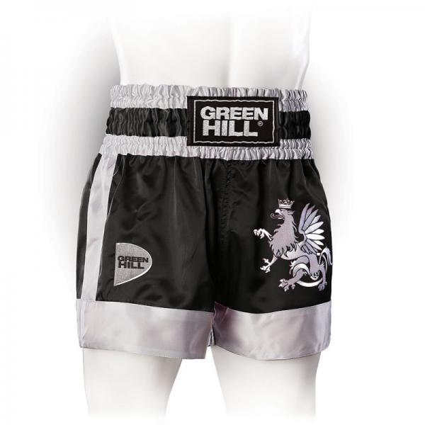 Шорты для тайского бокса/кикбоксинга Eagle, Черные Green HillШорты для тайского бокса/кикбоксинга<br>Трусы для кикбоксинга и тайского бокса GREEN HILL EAGLE выполнены из специального легкого атласного полиэстера. Трусы удобно сидят на теле, отводят влагу, сохраняя комфорт спортсмена, и быстро высыхают. На передней стороне расположена вышивка логотипа GREEN HILL и орла, которому данная модель обязана названием. <br>- 100% атласный полиэстер<br><br>- Легкий, приятный материал<br><br>- Отведение влаги<br><br>Размер INT: L