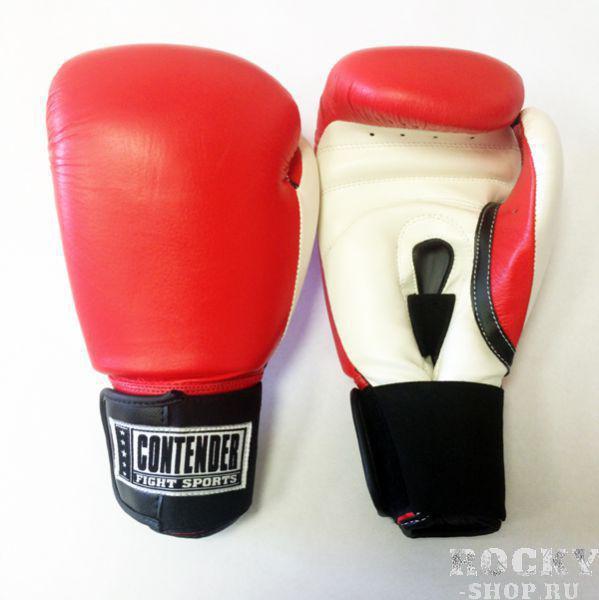 Перчатки боксерские тренировочные, липучка, 10 OZ ContenderБоксерские перчатки<br>Изготовлены из 100% кожи с влагонепроницаемым вкладышем из нейлона<br> Обеспечивают наивысшую защиту рук боксера, великолепный удобство и микроклимат изнутри перчаток<br> Перчатки металла мягче вследствие новым технологиям пены наивысшей плотности<br><br>Цвет: Красный/белый