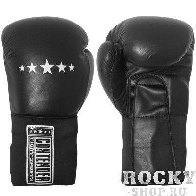 Перчатки боксерские тренировочные, липучка, 14 OZ ContenderБоксерские перчатки<br>3-слойный материал из пены<br> Прочная кожа<br> Эластическое покрытие закрепления кисти<br><br>Цвет: Черный