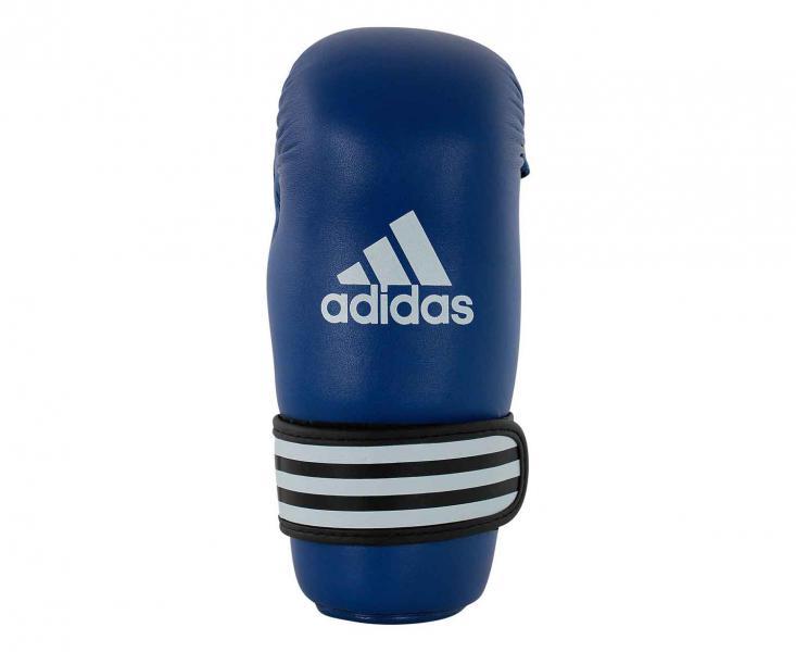 Перчатки полуконтакт WAKO Kickboxing Semi Contact Gloves синие, синие AdidasЭкипировка для кикбоксинга<br>Перчатки полуконтакт для кикбоксинга, одобрены WAKO. Они изготовлены из полиуретана нового поколения по технологии PU3G INNOVATION. PU3G - этомягкий и прочныйполиуретан, который выглядит, как кожа, и нечувствителен к колебаниям температуры и влажности. Внутренний вкладышсделаниз многослойного литого блока пенывысокого давления IMF (Intelligent Mould Technology),которыйобеспечивает однородный уровень поглощения удара. Эта технологиягарантирует идеальную защиту для руки, а также безопасность для партнера по тренировке. Внутренний материалI-COMFORT+ ® обладает антиаллергенными и антискользящими свойствами и моментально испаряет жидкость с внутренней поверхности перчаток. Усиленная защита большого пальца, кисти и ударной зоны. Специальная жесткая манжета для защиты кисти с фиксацией ремешком на липучкешириной 5 см. Состав: 100% полиуретан. Технология PU3GINNOVATION ®Технология I-Protech ®I-COMFORT+ ®Одобрено WAKO (Мировая Федерация Кикбоксига)Одобрено Федерацией Кикбоксинга РоссииПолностью литой блок пены до запястьяУсиленная защита большого пальца, кисти и ударной зоны100% полиуретан<br><br>Размер: XL