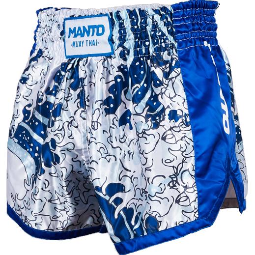 Шорты для тайского бокса Manto Waves MantoШорты для тайского бокса/кикбоксинга<br>Шорты для тайского бокса Manto Waves. Основа художественной части тайских шорт Manto Waves является легендарная гравюра японского художника Кацусики Хокусая «Большая волна в Канагаве». Мы не уверены, что дизайнеры из Manto решили соответствующие вопросы с правообладателями этой картины, но вы можете и не думать об этом - ваше дело не пропускать тренировки! Широкий эластичный пояс гарантирует комфорт и надежную фиксацию на поясе. Состав: 100% полиэстер.<br><br>Размер INT: XL