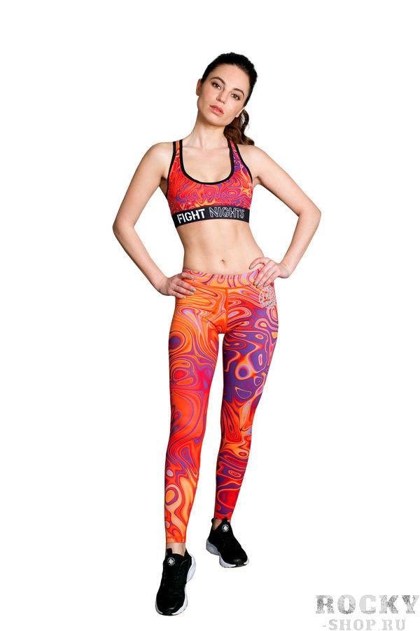 Леггинсы женские FIGHT NIGHTS Hot, оранжевый Fight NightsКомпрессионные штаны / шорты<br>Плотный трикотажПлоские швыШирокий эластичный поясОблегающий кройЛинейный красный логотип Fight Nights на левой ногеДлина по внутреннему шву 72см (размер XS)<br>Эти женские леггинсы для фитнеса обеспечивают поддержку, комфорт и абсолютную свободу движений во время тренировок. С таким ярким принтом вы будете в центре внимания днем, а светоотражающий логотип Fight Nights сделает заметнее вечером.<br><br>Размер INT: S