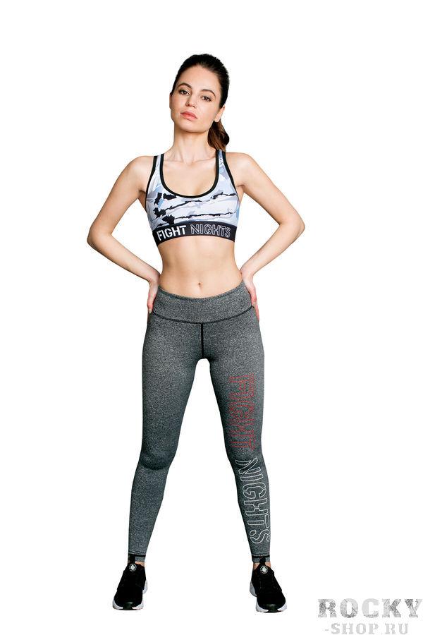 Леггинсы женские FIGHT NIGHTS Gray, серый Fight NightsКомпрессионные штаны / шорты<br>Плотный трикотажПлоские швыШирокий эластичный поясОблегающий кройЛинейный красный логотип Fight Nights на левой ногеДлина по внутреннему шву 72см (размер XS)<br>Эти леггинсы из облегающего технологичного трикотажа выгодно подчеркнут вашу фигуру. Безупречно комфортная модель с логотипом Fight Nights на левой ноге и внутренней стороне широкого пояса, который можно подвернуть.<br><br>Размер INT: M