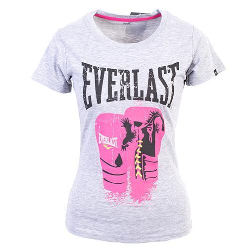 Женская футболка Everlast Protex Gloves, Серая EverlastФутболки<br>Футболка от спортивного бренда Everlast выполнена из хлопкового трикотажа. Модель прямого кроя. Детали: круглый вырез, принт.<br><br>Размер INT: XS