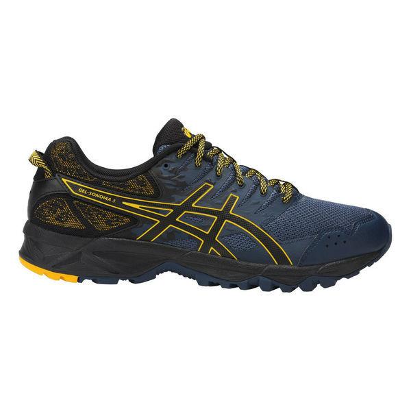 Кроссовки беговые мужские Asics t724n 5090 gel-sonoma 3 AsicsКроссовки<br>Беговые кроссовки ASICS T724N 5090 GEL-SONOMA 3 ASICS GEL-SONOMA 3 – мужские кроссовки, предназначенные для трейлраннинга, подойдут любителям бега с гипо- или нейтральной пронацией и средним весом (65-80 кг). Благодаря усовершенствованному дизайну верха кроссовки обеспечивают отличную посадку, идеальное прилегание и комфорт во время бега. Кроссовки выполнены из легкой дышащей синтетической кожи и воздухопроницаемого сетчатого материала. Использование системы амортизации ASICS Gel (специальный вид силикона) в передней части кроссовка сводит к минимуму давление и напряжение, воздействующее на стопу во время бега. Светоотражающие вставки сделают видимым бегуна в темное время суток. Данная модель кроссовок обладает высокой износостойкостью за счет использования материала подошвы из резины последнего поколения AHAR+. Технологии, использованные в модели ASICS GEL-SONOMA 3:•3М Reflective. Светоотражающие вставки, повышающие уровень безопасности спортсмена в темное время суток. •AHAR+ резина повышенной износостойкости, является наиболее тонкой облегченной модификацией АHАР, расположена в участках подошвы, подверженных максимальному износу. •Californian Slip Lasting. Верх колодки «Калифорния» прострочен и соединён со средней подошвой для стабильности и комфорта. •ASICS Gel. Система амортизации. Специальный вид силикона в передней части кроссовка снижает нагрузку на пятку, колени и позвоночник спортсмена. •Trusstic System. Литой элемент под центральной частью подошвы, который предохраняет подошву от сильных ударов, позволяет распределить нагрузку по всей поверхности и предотвращает скручивание стопы.<br><br>Размер INT: 12