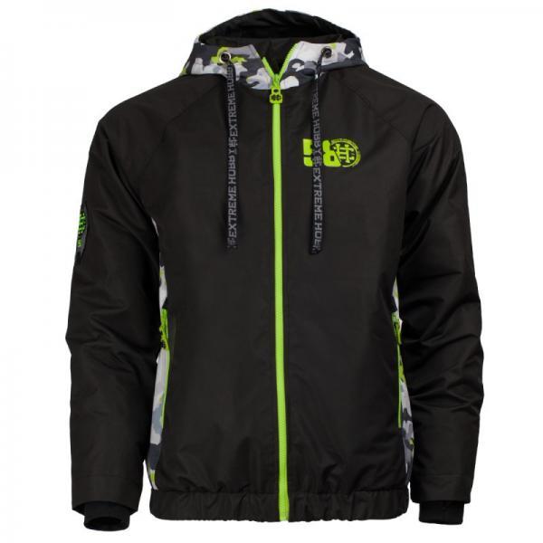 Куртка URBAN STEALTH EH (черный/зеленый) Extreme HobbyКуртки / ветровки<br>Эта куртка предназначена для того, чтобы уменьшить дискомфорт, который может ощущаться в летне-осенний сезон, когда теплые дни чередуются с холодными. Дует ветер и идет небольшой дождь. Необычный дизайн - Flashy Camo - придает индивидуальный дизайн ветрозащитной ткани. Для того, чтобы обозначить уникальность продукта, мы использовали яркий зеленый и оранжевый цвет, который выделяется из городской мрачности. 100% полиэстер. <br>КОЛЛЕКЦИЯ: 58 BASIC<br>ЦВЕТ: ЧЕРНЫЙ<br>МАТЕРИАЛ: 100% ПОЛИЭСТЕР<br>
