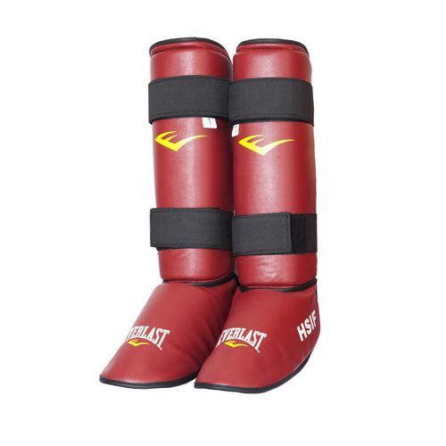 Защита голени и стопы Everlast  для рукопашного боя, Красная EverlastЗащита тела<br>Защита голени и стопы Everlast HSIF PU для рукопашного боя. В этой защите можно не только спарринговаться, но и отрабатывать удары по боксерским мешкам. Хорошо фиксируется на ноге с помощью двух липучек на голени. Выполнена из высококачественного кожзаменителя. <br>Эксклюзивная официальная экипировка EVERLAST для рукопашного боя (с логотипом HSIF (международная федерация рукопашного боя)<br><br>Размер: M