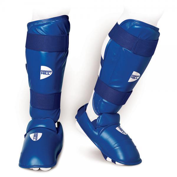 Защита голень+стопа для карате wkf Green Hill, Синяя Green HillЭкипировка для Каратэ<br>Защита голень+стопа для карате WKF выполнена из искусственной кожи FX PU и предназначена для тренировок и соревнований по карате. Защита состоит из двух частей, соединенных между собой липучкой: футов и голенища. Наполнитель защиты обеспечивает надежную защиту ног от ударов характерных для карате WKF. 100% ПолиуретанТренировочная и соревновательная защитаКомплексная защита голени и стопы<br><br>Размер: M