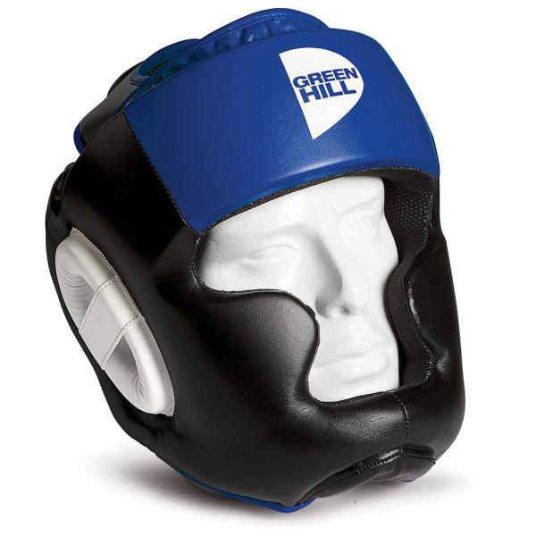 Боксерский шлем gh poise, черный с синим Green HillБоксерские шлемы<br>Шлем POISE предназначен для тренировок представителей всех видов ударных единоборств. Лицо и подбородок спортсмена надежно защищены конструкцией Full Face. Крышка шлема представляет собой пересечение ремней соединяющихся в маленький пенный модуль в виде логотипа GREEN HILL. Шлем очень удобно и просто одевается и снимается. Внешняя сторона шлема выполнена из 100% Полиуретана FX. Внутренняя сторона из ткани WINDSTOPPER<br><br>Размер: M