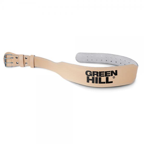 Пояс тяжелоатлетический Green Hill 6 дюймов коричневый Green HillПояса атлетические<br>Тяжелоатлетический пояс Green Hill, сделан из прочной натуральной кожи, имеет надежную двойную стальную застежку. Тяжелоатлетический(силовой) пояс Green Hill предназначен для выполнения силовых упражнений, таких как: сгибание рук со штангой, жим лежа, жим ногами и так далее. Затянутый пояс способствует сдерживанию внутрибрюшного давления во время силовой тренировки с большими весами, препятствует образованию межпозвонковой грыжи и других травм, вследствие высокого внутрибрюшного давления.<br><br>Размер: M