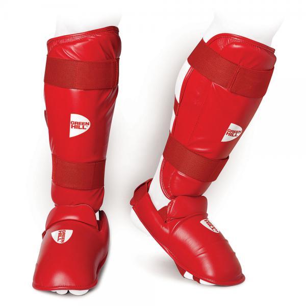Защита голень+стопа для карате WKF Green Hill, Красная Green HillЭкипировка для Каратэ<br>Защита голень+стопа для карате WKF выполнена из искусственной кожи FX PU и предназначена для тренировок и соревнований по карате. Защита состоит из двух частей, соединенных между собой липучкой: футов и голенища. Наполнитель защиты обеспечивает надежную защиту ног от ударов характерных для карате WKF. 100% ПолиуретанТренировочная и соревновательная защитаКомплексная защита голени и стопы<br><br>Размер: L
