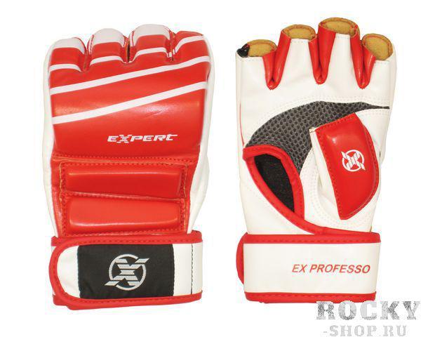 Детские перчатки для MMA FIGHT EXPERT, красно-белые  FlammaПерчатки MMA<br>Перчатки предназначены для тренировок и соревнований. Защита в ударной области перчаток и двойной протектор большого пальца максимально убережет руки бойца от травм. Широкий манжет и длинный ремень-липучка плотно удерживает перчатку на руке, защищая запястье от растяжений. Специальный сетчатый материал на внутренней стороне перчатки обеспечивает вентиляцию, что делает тренировки более комфортными. Материал: кожзам.<br>