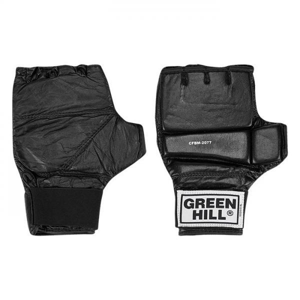 Шингарты Green Hill, Черный Green HillПерчатки MMA<br>Материал - 100% кожа наивысшего качества<br> Обрезанные пальцы обрамлены нежной искусственной подбивкой<br> Плоский защитный вкладыш разделён на три участка<br> Фиксация кисти<br> Мягкая подстежка на ладони<br><br>Размер: XL