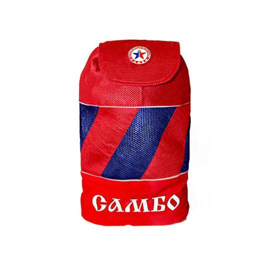 Рюкзак Крепыш Я Самбо Мозаика Крепыш ЯЭкипировка для Самбо<br>Рюкзак среднего размера, для детей и подростков, с двумя лямками и ручкой, выполнен в традиционных цветах самбо. На верхнем клапане расположена круглая эмблема Всероссийской Федерации Самбо. Большая надпись САМБО в нижней части рюкзака.<br>