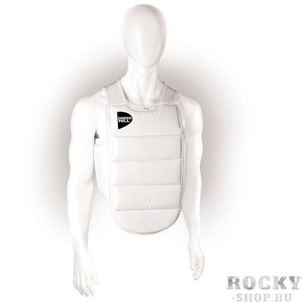 Защитный жилет для карате Green Hill Green HillЗащита тела<br>Защитный жилет предназначен для тренировок и соревнований. Выполнен из 100% Полиуретана. Спина жилета выполнена из эластичного полиэстера, обеспечивающего максимально удобную посадку на тело. Ступенчатая горизонтальная конструкция позволяет спортсмену быть более подвижным. Наполнитель жилета надежно защищает корпус спортсмена от ударов. - 100% PU- Плотное прилегание к телу и надежная защита<br><br>Размер: M