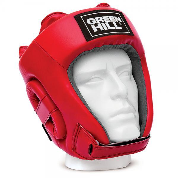Шлем Green Hill TRAINING, Красный Green HillБоксерские шлемы<br>Соревновательный шлем TRAINING это более доступная версия шлема FIVE STAR. Внешняя сторона шлема выполнена из 100% полиуретана, внутренняя сторона из искусственной замши AMARA. Уши спортсмена дополнительно защищены пенными модулями. Подбородок на ремешке с липучкой. Затылок на двойном встречном замке с липучкой. Верх шлема на шнуровке. - Соревновательный шлем- 100% полиуретан- Внутренняя сторона из искусственной замши AMARA<br><br>Размер: L