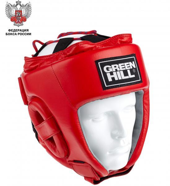 Шлем боксерский Green Hill triumph с лого фед. бокса рф, Красный Green HillБоксерские шлемы<br>Открытый шлем для официальных соревнований по боксу. Лицензия ФБ России 2017 г. подтверждает соответствие техническому стандарту качества АИБА. верх из высококачественной натуральной кожи для долговечности и износостойкости внутренняя подкладка из искусственной замши для удобства и комфорта открытый верх, крепление и регулировка сверху на шнуровке застежка в области затылка: две липучки, расположенные горизонтально, закрывающиеся в противоположные стороны регулируемый ремешок на подбородке усиленная защита в области ушейОдобрен Федерацией бокса России и рекомендован к использованию на всех международных соревнованиях, проводимых на территории Российской Федерации; всероссийских турнирах класса А и класса Б; окружных соревнованиях по боксу среди мужчин в рамках Единого календарного плана Федерации бокса России 2017 г. Год выпуска: 2017 г. Размеры (окружность головы, см. ): S (48-53), M (54-56), L (57-60), XL (61-63). Сделано в Пакистане<br><br>Размер: S