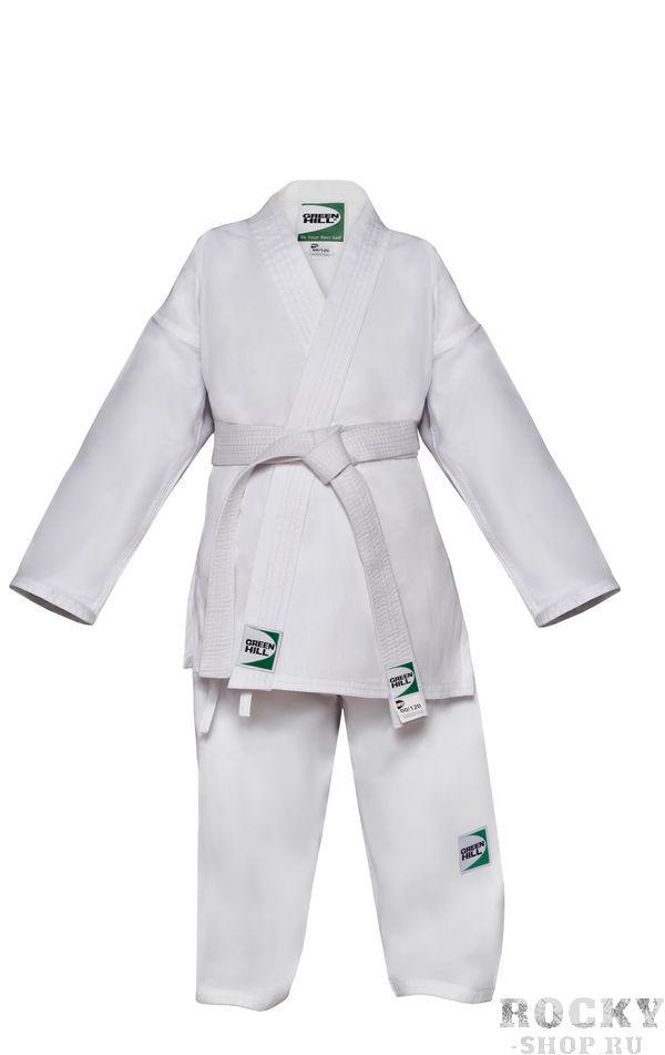 Кимоно каратэ Green Hill CLUB с поясом, белое, 130 см Green HillЭкипировка для Каратэ<br>Кимоно карате Club предназначено для тренировок и соревнований спортсменов с опытом всех возрастов. Состав из комбинации хлопка и полиэстера придает материалу кимоно яркую белизну и делает усадку после стирки минимальной. Материал: 65% хлопок/35% полиэстер. плотность - 235г/м2. Кимоно продается в комплекте с поясом.<br>
