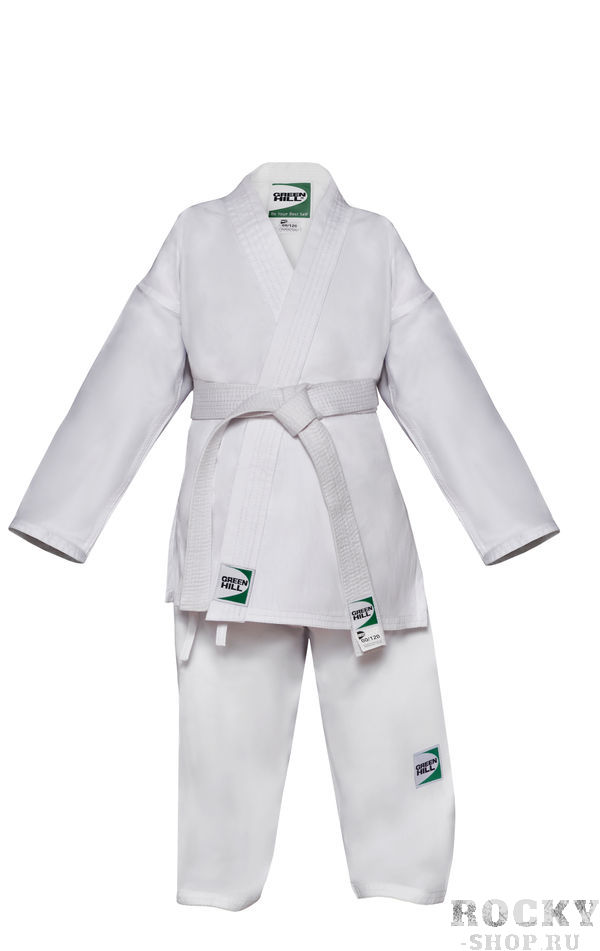 Кимоно каратэ Green Hill CLUB с поясом, белое, 150 см Green HillЭкипировка для Каратэ<br>Кимоно карате Club предназначено для тренировок и соревнований спортсменов с опытом всех возрастов. Состав из комбинации хлопка и полиэстера придает материалу кимоно яркую белизну и делает усадку после стирки минимальной. Материал: 65% хлопок/35% полиэстер. плотность - 235г/м2. Кимоно продается в комплекте с поясом.<br>