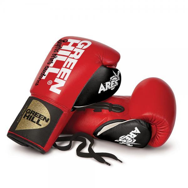 Боксерские перчатки Green Hill ares, 8 OZ Green HillБоксерские перчатки<br>Профессиональные боксерские перчатки Green Hill ARES. Сделаны из натуральной кожи. Фиксация на запястье с помощью шнуровки.<br>