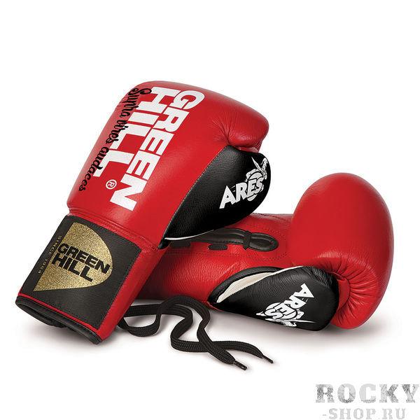 Боксерские перчатки Green Hill ares, 10 OZ Green HillБоксерские перчатки<br>Профессиональные боксерские перчатки Green Hill ARES. Сделаны из натуральной кожи. Фиксация на запястье с помощью шнуровки.<br>