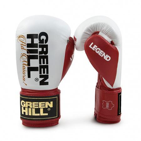 Боксерские перчатки Green Hill legend, 10 OZ Green HillБоксерские перчатки<br>Боксерские перчатки LEGEND. Тренировочные боксерские перчатки для спортсменов с опытом и профессионалов. Перчатки выполнены из натуральной коровьей кожи. Многослойный наполнитель ручной работы обеспечивает оптимальное поглощение энергии удара и фиксацию на руке. Манжет на липучке.<br><br>Размер: сине-белые