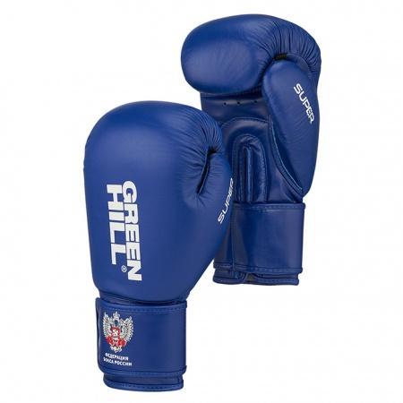 Боксерские перчатки Green Hill Super c лого Федерации бокса, 10 OZ Green HillБоксерские перчатки<br>Боксерские перчатки SUPER для классического бокса и кикбоксинга разработаны совместно с Федерацией Бокса России. Перчатки имеют современную конструкцию, учитывающую весь накопленный за годы существования опыт бокса. Большой палец перчатки прикрыт выступом, обеспечивая защиту пальца от компрессии при сильном ударе или неточном попадании. Манжет перчаток выполнен так, чтобы в клинче была исключена возможно рассечения выступающими швами перчатки. Материал перчаток - верх из натуральной кожи, ладонь из 100% PU. Наполнитель - предварительно сформированный по технологии Pre-Shape пенополиуретан.<br><br>Размер: Красные
