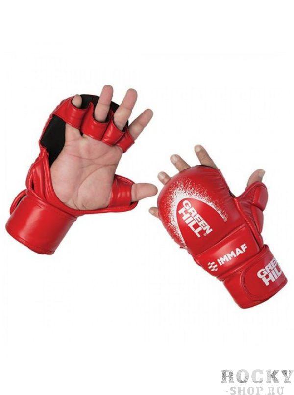 Перчатки Green Hill MMI-601, Красные Green HillПерчатки MMA<br>Перчатки MMA GREEN HILL 601 предназначены для тренировок и соревнований. Обладают плотным и толстым наполнителем ударной части для обеспечения безопасности спортсменов и максимально открытой ладонью для облегчения борьбы. Большой палец закрыт и защищен специальным модулем. Внешний материал перчаток - 100% полиуретан, внутренняя сторона - микрофибра. Крепление на липучке в один оборот. Размеры: Замерьте обхват ладони сантиметровой лентой в наиболее широком месте, исключив при этом большой палец рукиРазмер: S M L XLОбхват ладони, см. 17-18 18-19 19-22 23-27<br><br>Размер: M