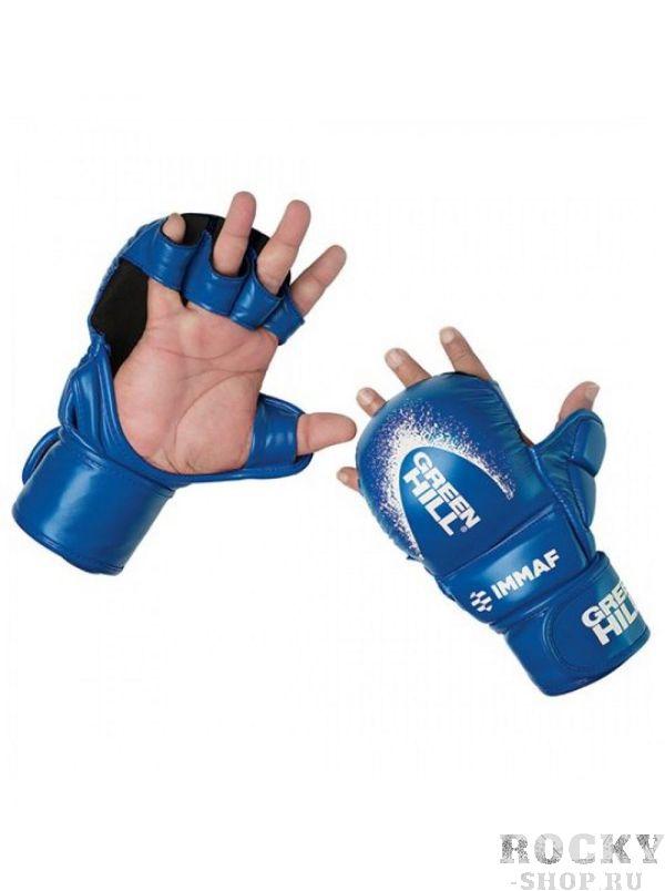 Перчатки Green Hill MMI-601, Синие Green HillПерчатки MMA<br>Перчатки MMA GREEN HILL 601 предназначены для тренировок и соревнований. Обладают плотным и толстым наполнителем ударной части для обеспечения безопасности спортсменов и максимально открытой ладонью для облегчения борьбы. Большой палец закрыт и защищен специальным модулем. Внешний материал перчаток - 100% полиуретан, внутренняя сторона - микрофибра. Крепление на липучке в один оборот. Размеры: Замерьте обхват ладони сантиметровой лентой в наиболее широком месте, исключив при этом большой палец рукиРазмер: S M L XLОбхват ладони, см. 17-18 18-19 19-22 23-27<br><br>Размер: L