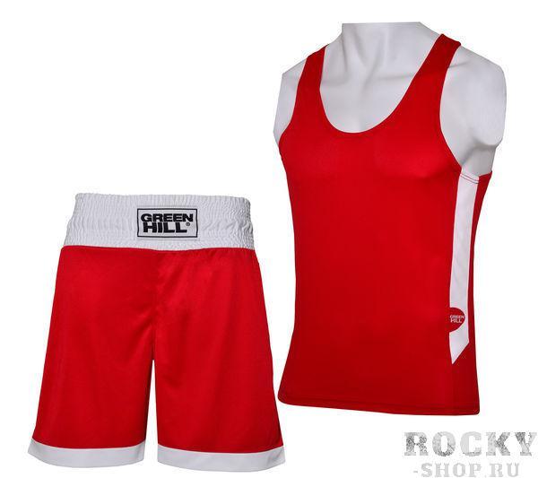 Боксерская форма Green Hill interlock, Красная Green HillШорты для бокса<br>Боксерская форма INTERLOK это отличная современная форма для начинающих боксеров. Форма сделана из мягкого, приятного на контакт с кожей полиэстера. На спине и вдоль туловища нанесены логотипы GREEN HILL.<br><br>Размер INT: XS