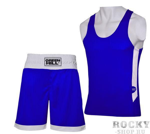 Боксерская форма Green Hill interlock, Синяя Green HillБоксерские майки<br>Боксерская форма INTERLOK это отличная современная форма для начинающих боксеров. Форма сделана из мягкого, приятного на контакт с кожей полиэстера. На спине и вдоль туловища нанесены логотипы GREEN HILL.<br><br>Размер INT: XL