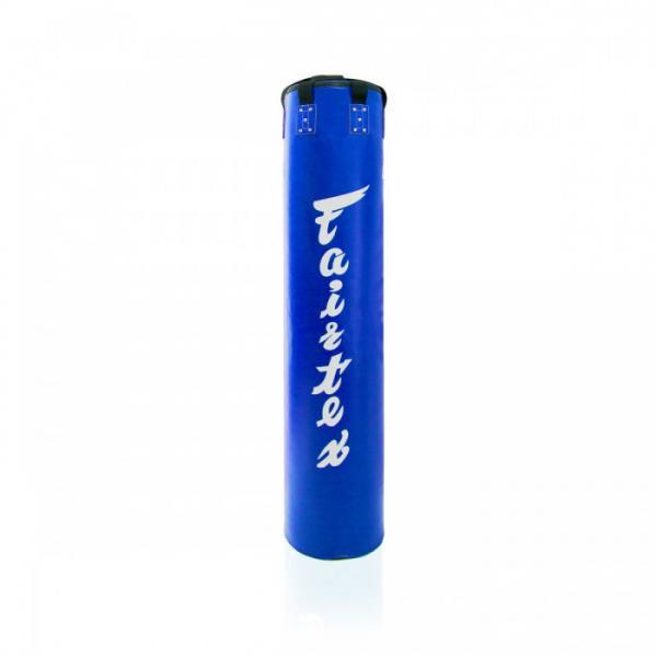 Мешок боксерский Fairtex 180*36, 55 кг, Синий FairtexСнаряды для бокса<br>Боксерский тяжелый мешок, форма классическая. Размеры 180 см длина, 36 см диаметр. Вес около 55 кг. <br>Сделан из высококачественной водонепроницаемой синтетической кожи. <br><br>Полная свобода в выборе ударной техники для отработки. <br><br>Подходит как для бокса, так и для муай тай и кикбоксинга. <br><br>Прочные нейлоновые лямки. <br><br>Подходит для залов единоборств, фитнесс залов и домашнего использования.<br>