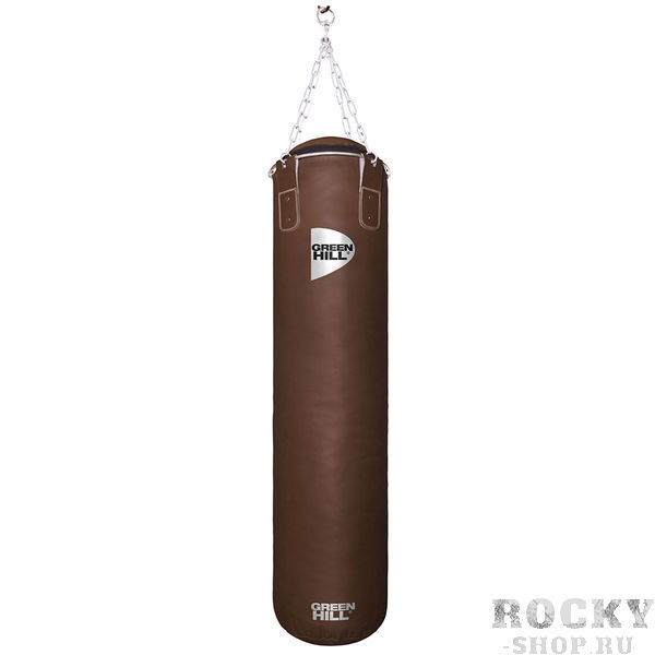 Боксерский мешок Green Hill Retro, двойная кожа, 40 кг, 100*30 cм Green HillСнаряды для бокса<br>Профессиональный боксерский мешок Green Hill с технологией набивки Heavy Shell. Боксерские мешки компании Green Hill наполняются регенерированным волокном с помощью пресса с контролем давления. Чтобы регулировать вес и баланс, вдоль оси всего мешка установлены песочные гильзы. Благодаря своим свойствам такое волокно не сбивается в комки, не проседает вниз мешка и не высыпается. Технология внутреннего шва мешка такова, что он выдерживает максимальную нагрузку при ударе. Техника прострочки и швейный материал образуют максимально прочное соединение. <br>Высота мешка 100 см<br><br>Диаметр мешка 30 см<br><br>Вес набитого мешка 40 - 42 кг<br><br>Материал верха: Натуральная кожа толщиной 2,5мм<br><br>Наполнитель: Регенированное волокно, песочные гильзы<br><br>Тип подвесной системы : Цепь<br>