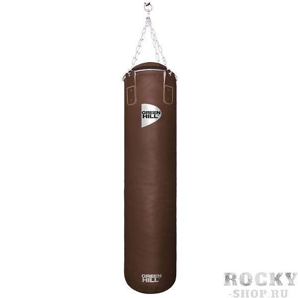 Боксерский мешок Green Hill Retro, двойная кожа, 55 кг, 150*30 cм Green HillСнаряды для бокса<br>Профессиональный боксерский мешок Green Hill с технологией набивки Heavy Shell. Боксерские мешки компании Green Hill наполняются регенерированным волокном с помощью пресса с контролем давления. Чтобы регулировать вес и баланс, вдоль оси всего мешка установлены песочные гильзы. Благодаря своим свойствам такое волокно не сбивается в комки, не проседает вниз мешка и не высыпается. Технология внутреннего шва мешка такова, что он выдерживает максимальную нагрузку при ударе. Техника прострочки и швейный материал образуют максимально прочное соединение. <br>Высота мешка 150 см<br><br>Диаметр мешка 30 см<br><br>Вес набитого мешка 52-57кг<br><br>Материал верха: Натуральная кожа толщиной 2,5мм<br><br>Наполнитель: Регенированное волокно, песочные гильзы<br><br>Тип подвесной системы : Цепь<br>