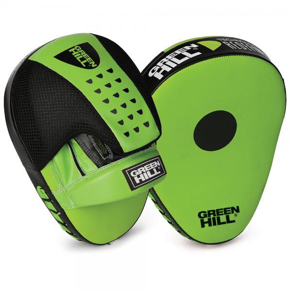 Боксерские лапы Green Hill FM-5250 изогнутые  Green HillЛапы и макивары<br>Лапы сделаны из качественной искусственной кожи, в центре ударной поверхности расположена мишень. Удобно сидят на руке, анатомическая форма лап позволяет снизить нагрузку во время тренировки. Отличный выбор для повышения силы, точности и скорости ударов.<br>