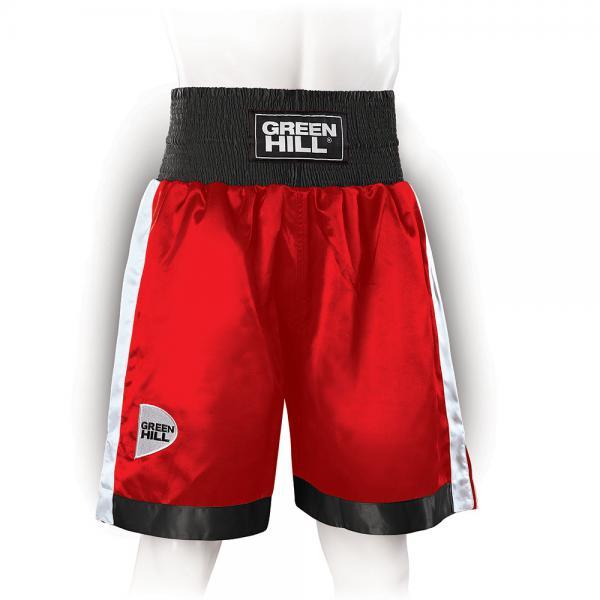 Профессиональные боксерские шорты Green Hill PIPER, красный/черный/белый Green HillШорты для бокса<br>Профессиональные боксерские шорты PIPER выполнены из тяжелого атласного полиэстера плотностью 180г/м2. Имеют резинку с тканым лэйблом GREEN HILL на талии. Еще один логотип GREEN HILL вышит на передней правой половинке трусов. С боков трусов имеются разрезы для более удобной работы ног и нырков.<br><br>Размер INT: L