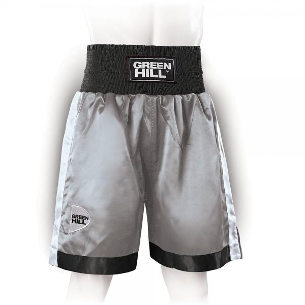 Профессиональные боксерские шорты Green Hill piper, серый/черный/белый Green HillШорты для бокса<br>Профессиональные боксерские шорты PIPER выполнены из тяжелого атласного полиэстера плотностью 180г/м2. Имеют резинку с тканым лэйблом GREEN HILL на талии. Еще один логотип GREEN HILL вышит на передней правой половинке трусов. С боков трусов имеются разрезы для более удобной работы ног и нырков.<br><br>Размер INT: M