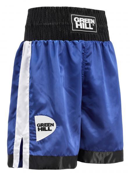 Профессиональные боксерские шорты Green Hill piper, синий/черный/белый Green HillШорты для бокса<br>Профессиональные боксерские шорты PIPER выполнены из тяжелого атласного полиэстера плотностью 180г/м2. Имеют резинку с тканым лэйблом GREEN HILL на талии. Еще один логотип GREEN HILL вышит на передней правой половинке трусов. С боков трусов имеются разрезы для более удобной работы ног и нырков.<br><br>Размер INT: XL