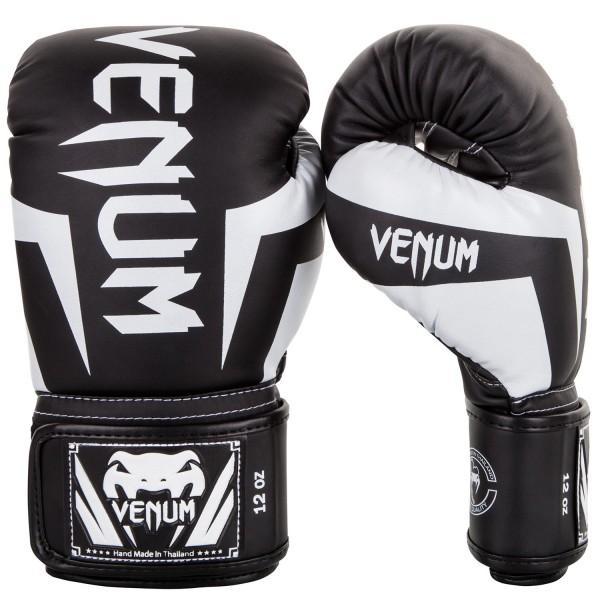 Перчатки боксерские Venum Elite Black/White 12 унций (арт. 20517)  - купить со скидкой