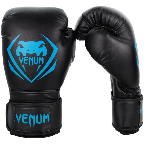 Перчатки боксерские Venum Contender Black/Cyan, 14 унций VenumБоксерские перчатки<br>Перчатки боксерские Venum Contender - Black/Cyan выдержат любой мощный удар, будь то джеб, кросс, хук или апперкот. Сделаны из 100% синтетической кожи с высоким сроком службы. Их изогнутая анатомическая форма обеспечивает гибкость и комфорт. Многослойный пенный наполнитель с легкостью поглащает все удары. Большая надежная застежка на липучке дает надежную фиксацию запястья, минимизируя риск возникновения травмы на тренировках. Отработка, спарринг, работа на мешках или лапах - боксерские перчаткиVenum Contender непременно приведут Вас к успеху!Особенности:- 100% синтетическая кожа с высоким сроком службы- многослойная пена для идеального поглощения ударов- широкая застежка на липучке для надежной фиксации запястья- большой палец полностью закреплен, что не дает его выбить<br>