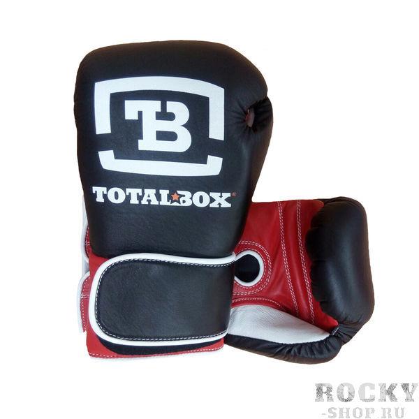 """Боксерские перчатки TOTALBOX на липучке, 12 OZ AquaboxБоксерские перчатки<br>Боксерские перчатки для спарринга «TOTALBOX» сочетают в себе строгий стиль, удобство, высочайшее качество и долговечность. При производстве используется 5 видов кожи, 11 видов различных материалов, применяется несколько технологических новинок и ноу хау. Все элементы многокомпонентной конструкции перчаток производятся в России. Единственный """"иностранец"""" в новинке рынка – это высококачественная натуральная кожа, сделанная в Италии под заказ для ТМ «TOTALBOX». Особенностью новых перчаток является формообразующая вставка (набивка), особым образом сформированная из нескольких видов материалов, в числе которых элемент из натурального латексированного кокосового волокна. <br>– исключительное качество исходных материалов и комплектующих;<br><br>– тщательно и сбалансированно подобранная плотность, эластичность и толщина многослойной """"набивки """";<br><br>– под оптимальным углом сформированный """"загиб"""" позволяет экономить силы для нокаутирующих ударов;<br><br>– чрезвычайно удобная форма кроя позволяет руке чувствовать себя """"как дома """" в перчатке;<br><br>– эргономично """" упакованный """" и защищенный большой палец позволяет руке быть единым сокрушительным монолитом;<br><br>– качественная кожа, технологичный крой элементов, контроль пошива каждого шва дают перчатке необходимую смесь прочности эластичности и надежности.<br><br>Размер: Черные"""