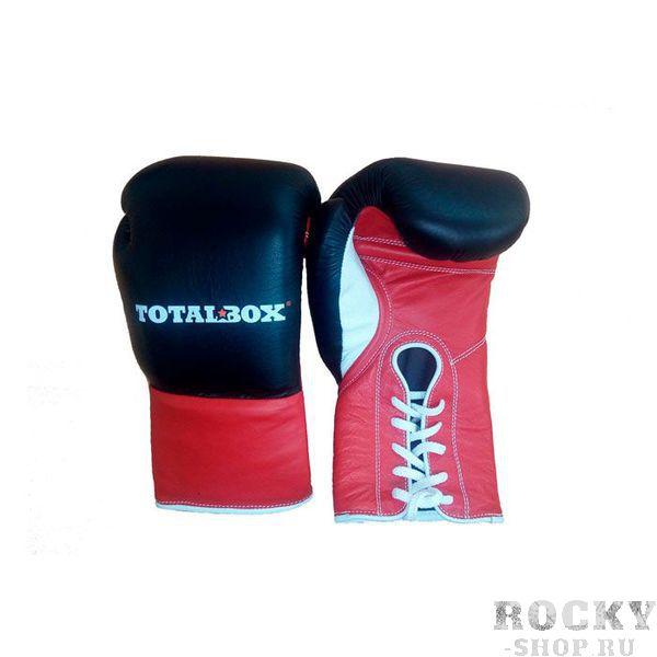 """Боксерские перчатки TOTALBOX на шнуровке, 10 OZ AquaboxБоксерские перчатки<br>Боксерские перчатки для спарринга «TOTALBOX» сочетают в себе строгий стиль, удобство, высочайшее качество и долговечность. При производстве используется 5 видов кожи, 11 видов различных материалов, применяется несколько технологических новинок и ноу хау. Все элементы многокомпонентной конструкции перчаток производятся в России. Единственный """"иностранец"""" в новинке рынка – это высококачественная натуральная кожа, сделанная в Италии под заказ для ТМ «TOTALBOX». Особенностью новых перчаток является формообразующая вставка (набивка), особым образом сформированная из нескольких видов материалов, в числе которых элемент из натурального латексированного кокосового волокна. <br>– исключительное качество исходных материалов и комплектующих;<br><br>– тщательно и сбалансированно подобранная плотность, эластичность и толщина многослойной """"набивки """";<br><br>– под оптимальным углом сформированный """"загиб"""" позволяет экономить силы для нокаутирующих ударов;<br><br>– чрезвычайно удобная форма кроя позволяет руке чувствовать себя """"как дома """" в перчатке;<br><br>– эргономично """" упакованный """" и защищенный большой палец позволяет руке быть единым сокрушительным монолитом;<br><br>– качественная кожа, технологичный крой элементов, контроль пошива каждого шва дают перчатке необходимую смесь прочности эластичности и надежности.<br>"""