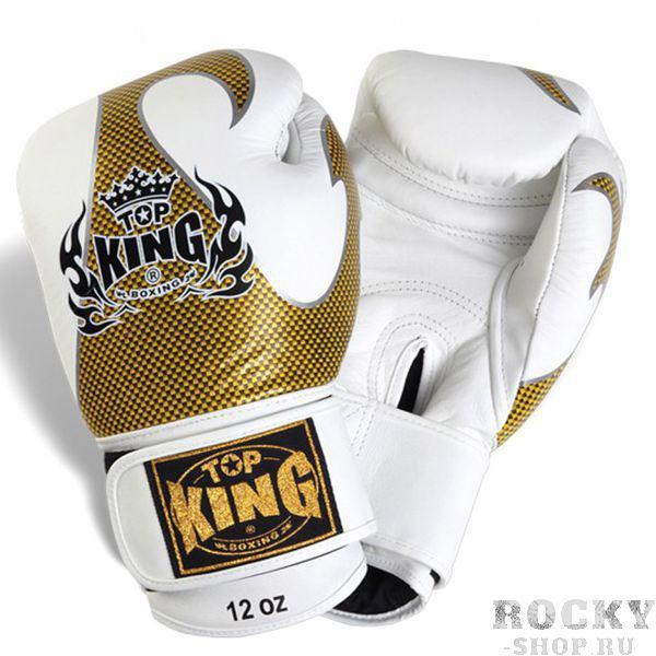 Перчатки боксерские Top King Empower Creativity, 18 OZ Top KingБоксерские перчатки<br>Специально разработанные для повышения эффективности тренировок боксерские перчатки Top King Empower Creativity станут для вас эталоном экипировки, способной сохранить защитные качества и перевести на новый уровень понятие комфорта в контактных видах спорта. Все перчатки Top King производятся в Таиланде по американским чертежам и дизайнам, также, безусловно, перенимаются высокие стандарты американского производства, что делает эти перчатки одними из лучших на рынке.<br><br>Цвет: белый/золото