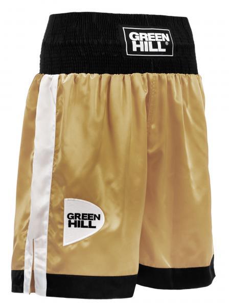 Профессиональные боксерские шорты Green Hill piper, золотистый/черный/белый Green HillШорты для бокса<br>Профессиональные боксерские шорты PIPER выполнены из тяжелого атласного полиэстера плотностью 180г/м2. Имеют резинку с тканым лэйблом GREEN HILL на талии. Еще один логотип GREEN HILL вышит на передней правой половинке трусов. С боков трусов имеются разрезы для более удобной работы ног и нырков.<br><br>Размер INT: XS