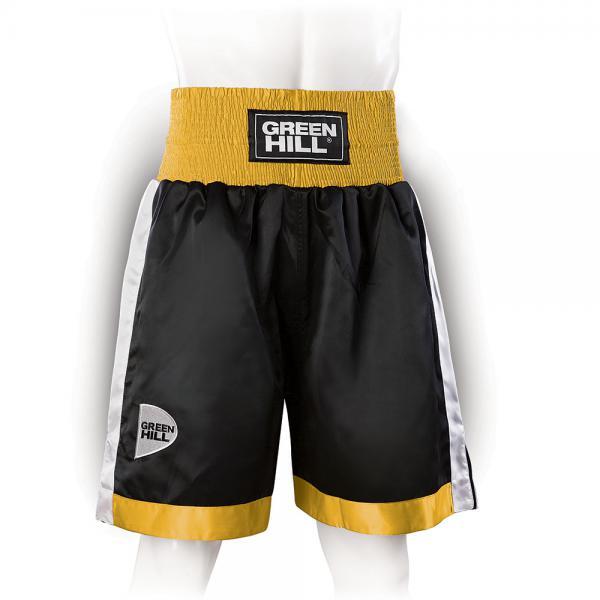 Профессиональные боксерские шорты Green Hill piper, черный/золотистый/белый Green HillШорты для бокса<br>Профессиональные боксерские шорты PIPER выполнены из тяжелого атласного полиэстера плотностью 180г/м2. Имеют резинку с тканым лэйблом GREEN HILL на талии. Еще один логотип GREEN HILL вышит на передней правой половинке трусов. С боков трусов имеются разрезы для более удобной работы ног и нырков.<br><br>Размер INT: M