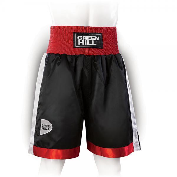Профессиональные боксерские шорты Green Hill piper, черный/красный/белый Green HillШорты для бокса<br>Профессиональные боксерские шорты PIPER выполнены из тяжелого атласного полиэстера плотностью 180г/м2. Имеют резинку с тканым лэйблом GREEN HILL на талии. Еще один логотип GREEN HILL вышит на передней правой половинке трусов. С боков трусов имеются разрезы для более удобной работы ног и нырков.<br><br>Размер INT: S