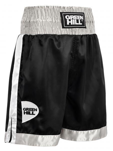 Профессиональные боксерские шорты Green Hill piper, черный/серый/белый Green HillШорты для бокса<br>Профессиональные боксерские шорты PIPER выполнены из тяжелого атласного полиэстера плотностью 180г/м2. Имеют резинку с тканым лэйблом GREEN HILL на талии. Еще один логотип GREEN HILL вышит на передней правой половинке трусов. С боков трусов имеются разрезы для более удобной работы ног и нырков.<br><br>Размер INT: XL
